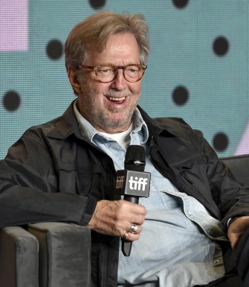 """Eric Clapton speaks at a press conference for """"Eric Clapton: Life in 12 Bars"""" at TIFF day 5 on Sept. 11, 2017"""