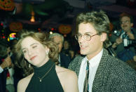 """Actress Melissa Gilbert, who played Laura Ingalls in the NBC television series """"Little Hourse on the Prairie"""" in the 1970's, makes a face at a party following her debut performance in the off-Broadway play """"A ShavnaMaidel"""" in New York Thursday, Oct. 29, 1987. She was accompanied by her long-time friend Rob Lowe. (AP Photo/Ron Frehm)"""