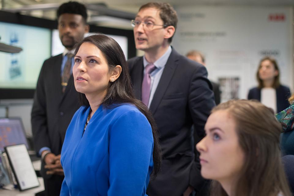 EMBARGOED TO 00.01 WEDNESDAY FEBRUARY 19 Home Secretary Priti Patel meets students and staff working on 'carbon capture' at Imperial College London in South Kensington, London where she announced plans for a new points-based immigration system. PA Photo. Picture date: Tuesday February 18, 2020. See PA story POLITICS Immigration. Photo credit should read: Stefan Rousseau/PA Wire