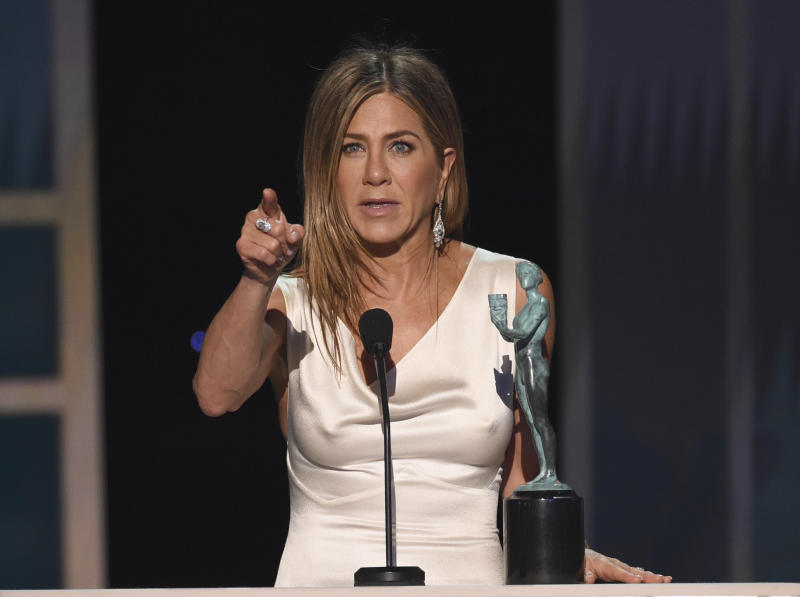 "Jennifer Aniston accepts the award for outstanding performance by a female actor in a drama series for ""The Morning Show"" at the 26th annual Screen Actors Guild Awards at the Shrine Auditorium & Expo Hall on Sunday, Jan. 19, 2020, in Los Angeles. (Photo/Chris Pizzello)"