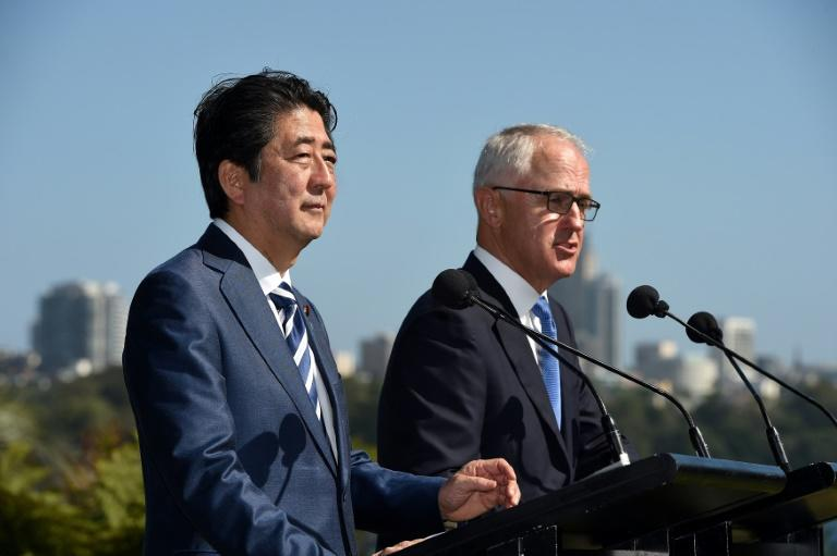 Japan's Prime Minister Shinzo Abe speaks during a joint press conference with Australian counterpart Malcolm Turnbull at Kirribilli House in Sydney, on January 14, 2017