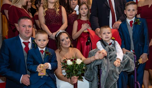 From left, Henry Matthews ,Jack Matthews, 4, Hannah Cowlishaw, Ethan Martin,8 and Brandon Martin, 12. [Photo: SWNS]