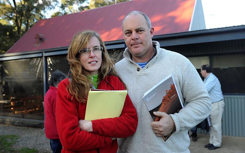 Black Saturday Royal Commission Community Consultation at Kinglake West Mechanics Institute. Fiona McAllister and James Grey from Yarra Valley. Source: Getty