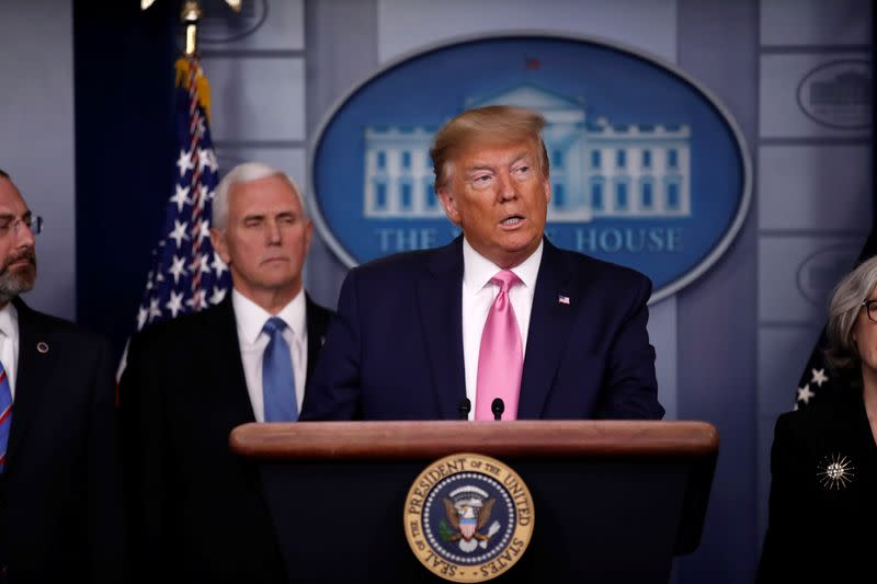 U.S. President Trump holds news conference on the coronavirus outbreak at the White House in Washington