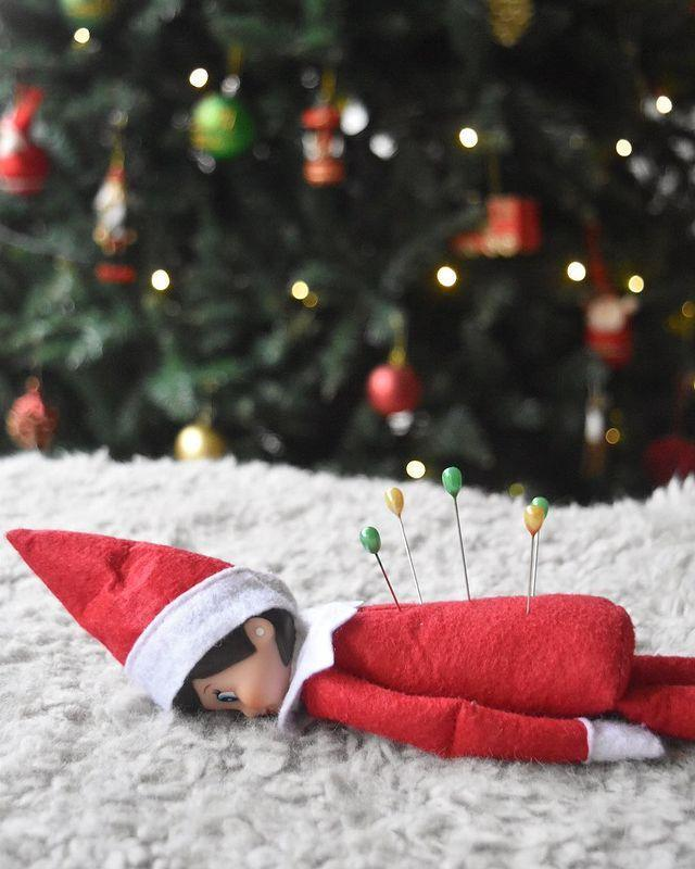 """<p>In 2020, it's all about finding ways to help your Elf relax. A few sewing pins is all it takes to relieve him of his stresses and worries.</p><p><a class=""""link rapid-noclick-resp"""" href=""""https://go.redirectingat.com?id=74968X1596630&url=https%3A%2F%2Fwww.walmart.com%2Fsearch%2F%3Fquery%3Dsewing%2Bpins&sref=https%3A%2F%2Fwww.thepioneerwoman.com%2Fholidays-celebrations%2Fg34080491%2Ffunny-elf-on-the-shelf-ideas%2F"""" rel=""""nofollow noopener"""" target=""""_blank"""" data-ylk=""""slk:SHOP SEWING PINS"""">SHOP SEWING PINS</a></p><p><a href=""""https://www.instagram.com/p/BcX6A7fFSyB/"""" rel=""""nofollow noopener"""" target=""""_blank"""" data-ylk=""""slk:See the original post on Instagram"""" class=""""link rapid-noclick-resp"""">See the original post on Instagram</a></p>"""