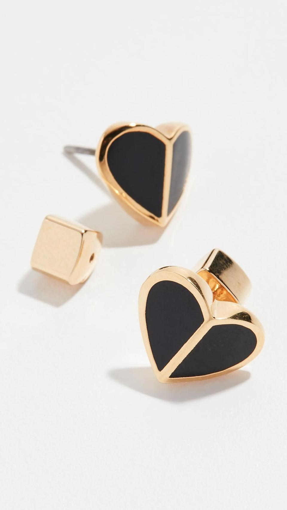 <p>Available in six colors, these <span>Kate Spade Heritage Spade Heart Earrings</span> ($34, originally $48) are simply love at first sight.</p>