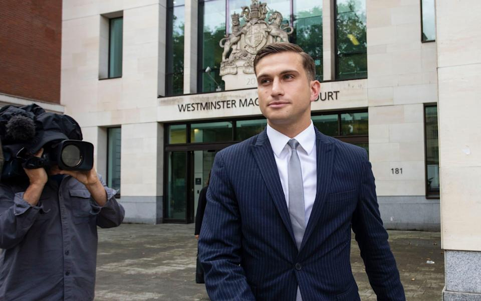 Lewis Hughes, 24, of Romford, was handed a suspended sentence in court for an incident involving Professor Chris Whitty on 27 June - Jamie Lorriman/Jamie Lorriman