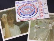 FILE - This collage of photos shows Associated Press baseball writer Ben Walker, left, holding the Johnny Bench foul ball that hit him in the head at the baseball All-Star game at RFK Stadium in Washington on July 23, 1969, Ben Walker reaching for an autograph from Atlanta Braves pitcher Phil Niekro, also on July 23, 1969, and the ticket to the game that was rained out on July 22 and played on July 23, 1969. (AP Photo/Ben Walker)
