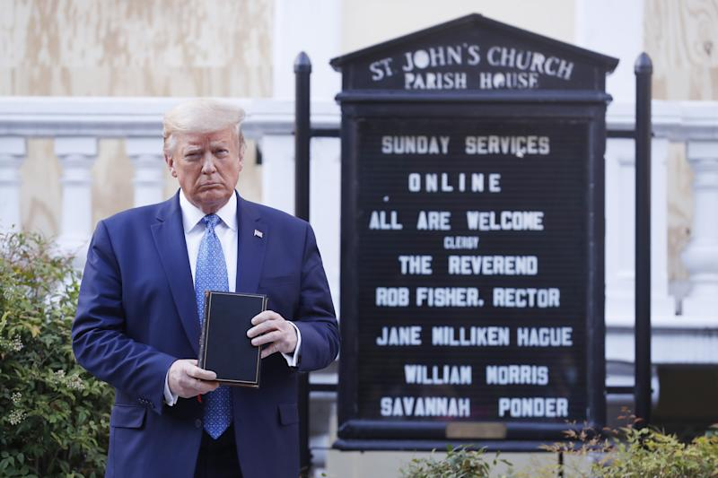 US President Donald J. Trump poses with a bible outside St. John's Episcopal Church after delivering remarks in the Rose Garden at the White House in Washington, DC, USA, 01 June 2020. Trump addressed the nationwide protests following the death of George Floyd in police custody.