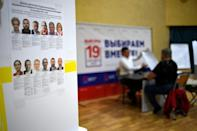 Polling stations, like this one in Moscow, were begining to open in Russia which encompasses 11 time ones (AFP/NATALIA KOLESNIKOVA)