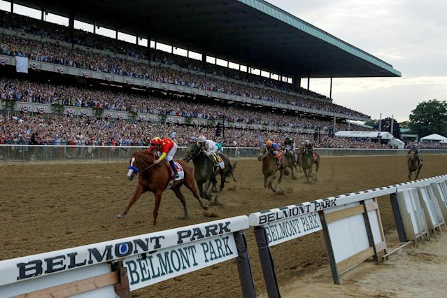 Justify with jockey Mike Smith aboard wins the 150th running of the Belmont Stakes, the third leg of the Triple Crown. (REUTERS)