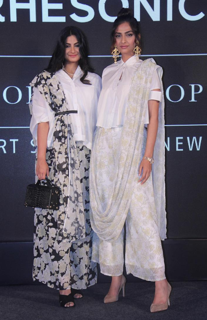 """Rhea Kapoor and Sonam Kapoor during the launch of their high street brand """"RHESON"""" at J W Marriott Hotel, Juhu, on May 17, 2017 in Mumbai, India. (Photo by Pramod Thakur/Hindustan Times via Getty Images)"""