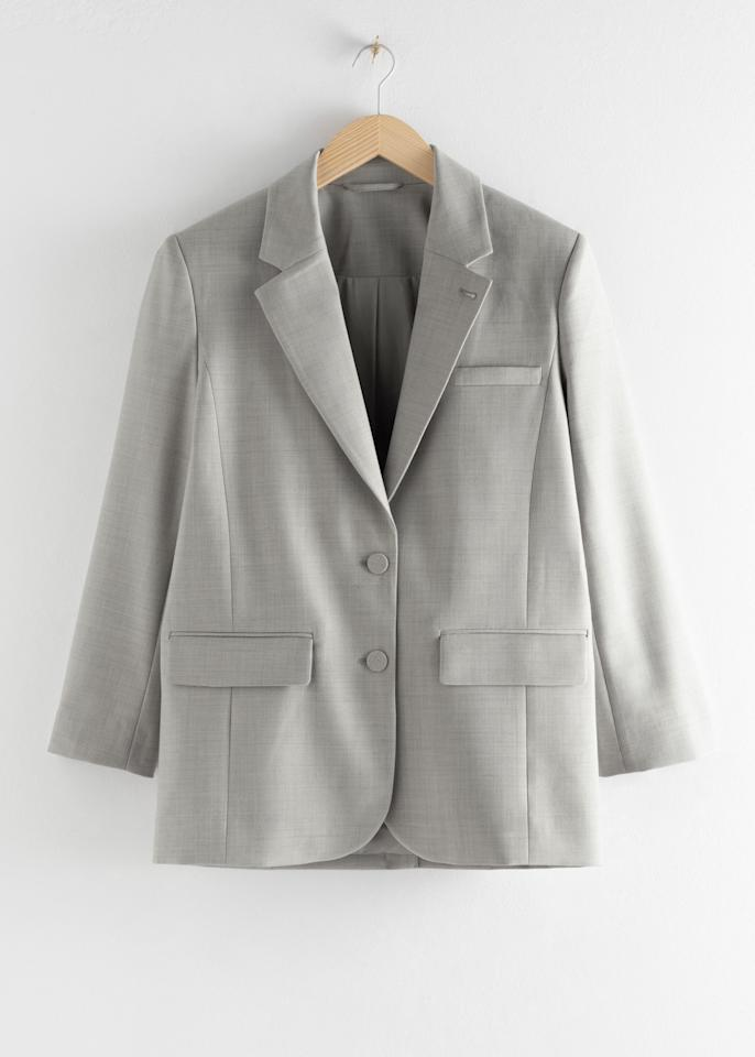 "$149, Mango. <a href=""https://www.stories.com/en_usd/clothing/blazers/product.oversized-wool-blend-tailored-blazer-grey.0769378002.html"">Get it now!</a>"
