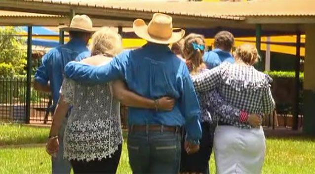 Friends and family arrive at the memorial service for Dolly. Source: 7 News / Bianca Stone