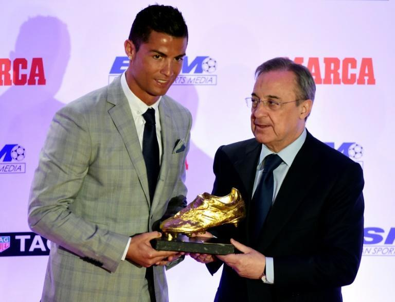 'He is mad': Florentino Perez handed Cristiano Ronaldo a fourth European Golden Shoe in October 2015