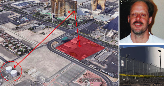 Stephen Paddock opened fire from his Las Vegas hotel room, with the red square showing the festival site where he killed 58 people. The circle represents the fuel tanks