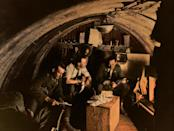 <p>An interior view of the dugout occupied by officers of the 105th Howitzer Battery, Belgium (Tom Marshall/mediadrumworld.com) </p>