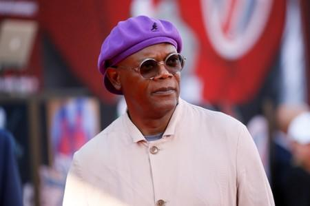 """Actor Samuel L. Jackson poses at the World Premiere of Marvel Studios' """"Spider-man: Far From Home"""" in Los Angeles"""