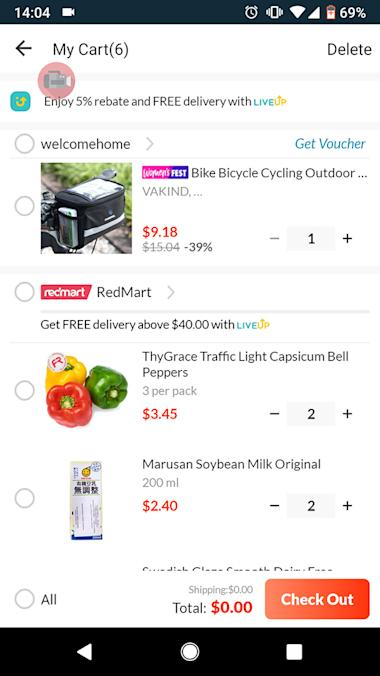 redmart checkout page