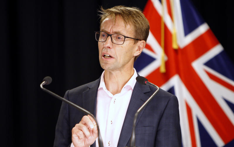 New Zealand Director-General of Health Dr. Ashley Bloomfield talks to media in Wellington, New Zealand, Saturday, March 21, 2020. For the first time in New Zealand, health authorities said there might be a local outbreak. (AP Photo/Nick Perry)