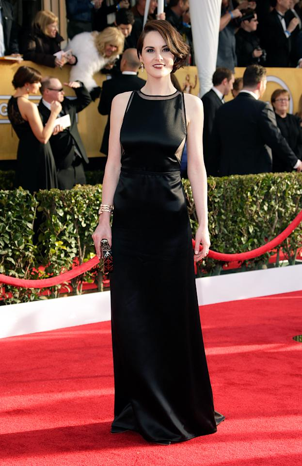 Michelle Dockery arrives at the 19th Annual Screen Actors Guild Awards at the Shrine Auditorium in Los Angeles, CA on January 27, 2013.