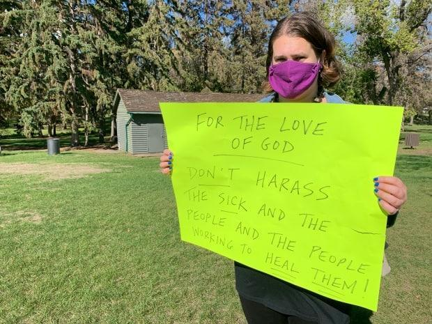 'I'm exhausted by this pandemic, just like everybody else. And groups like this, their actions are prolonging it,' said counter-protester Nicole Rimmer.  (Guy Quenneville/CBC - image credit)