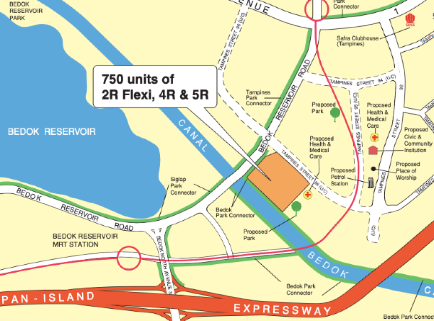 Locality map of the Tampines BTO flats launching in November 2020