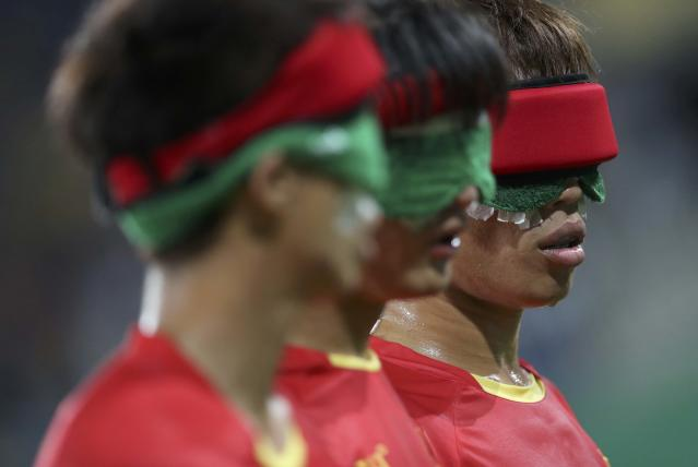 2016 Rio Paralympics - Football Soccer - Men's 5-a-side Preliminaries Pool B - China v Mexico - Olympic Tennis Centre - Rio de Janeiro, Brazil - 11/09/2016. From left, Wei Jiansen, Gao Kai and Wang Zhoubin (CHN) of China in action. REUTERS/Ueslei Marcelino FOR EDITORIAL USE ONLY, NOT FOR SALE FOR MARKETING OR ADVERTISING CAMPAIGNS.