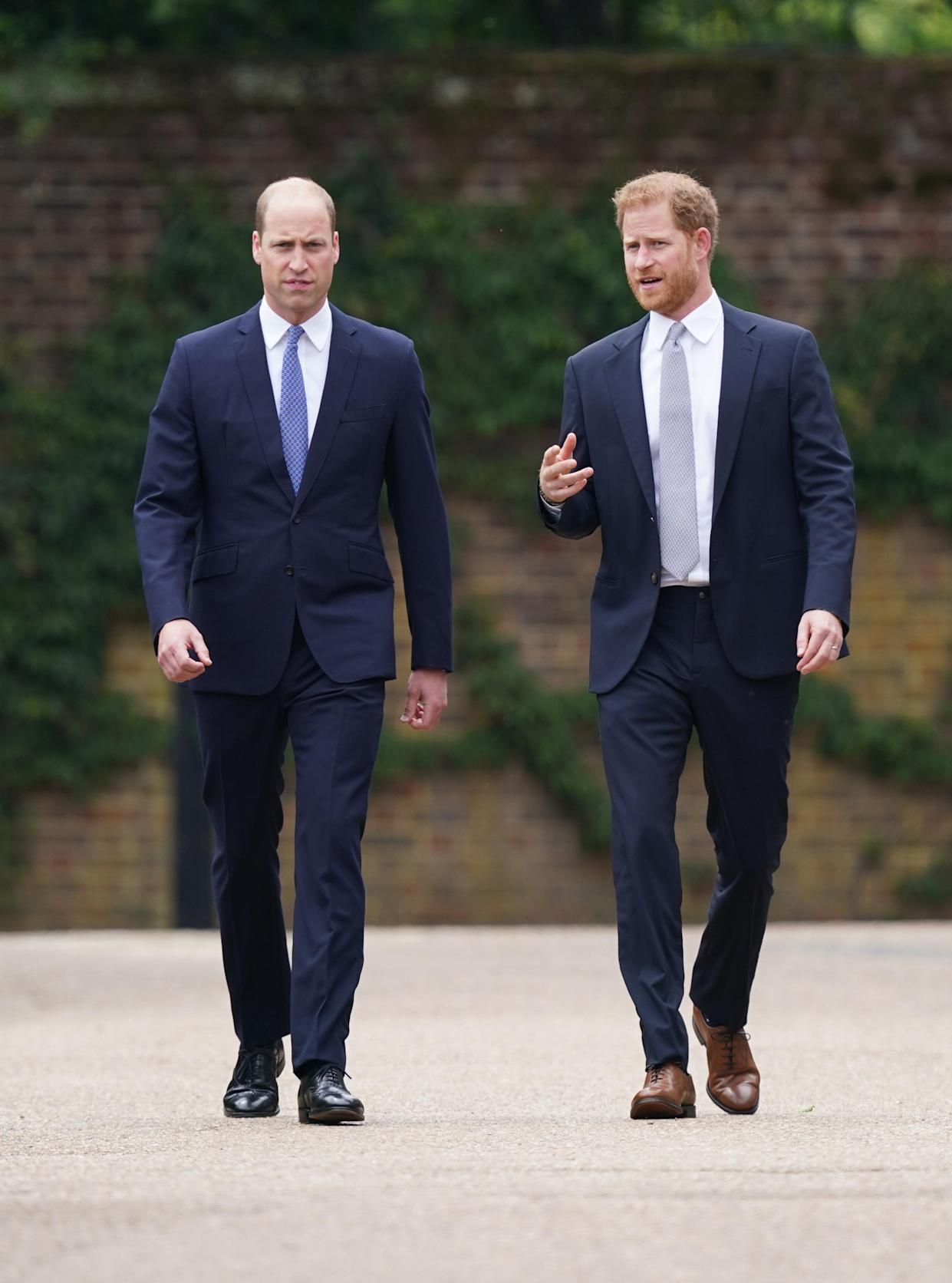 The Duke of Cambridge and Duke of Sussex were in conversation as they walked together to the garden. (Photo: PA Images)