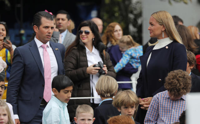 <p>Donald Trump Jr stands near his estranged wife Vanessa, who recently filed for divorce, as they attend the annual White House Easter Egg Roll with their children on the South Lawn of the White House in Washington, U.S., April 2, 2018. (Photo: Carlos Barria/Reuters) </p>