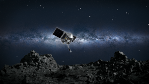 Artist's conception of NASA's OSIRIS-REx spacecraft collecting a sample from the asteroid Bennu. OSIRIS-REx's propulsion system is comprised of 28 Aerojet Rocketdyne engines. Credit: NASA/Goddard/University of Arizona