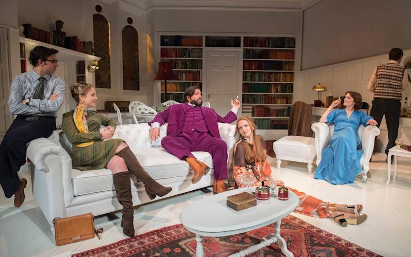 Simon Bird, Lowenna Melrose, Matt Berry, Lily Cole, Charlotte Ritchie and Tom Rosenthal in The Philanthropist - Credit: Alastair Muir