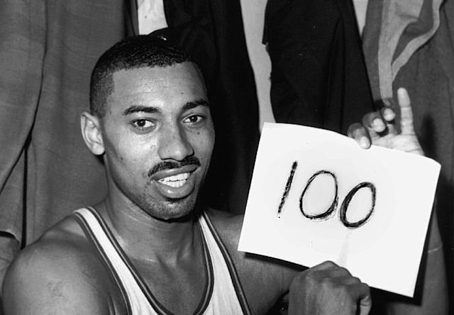 Wilt Chamberlain's 100-point game stands among the NBA's greatest records. (AP Photo/Paul Vathis, File)