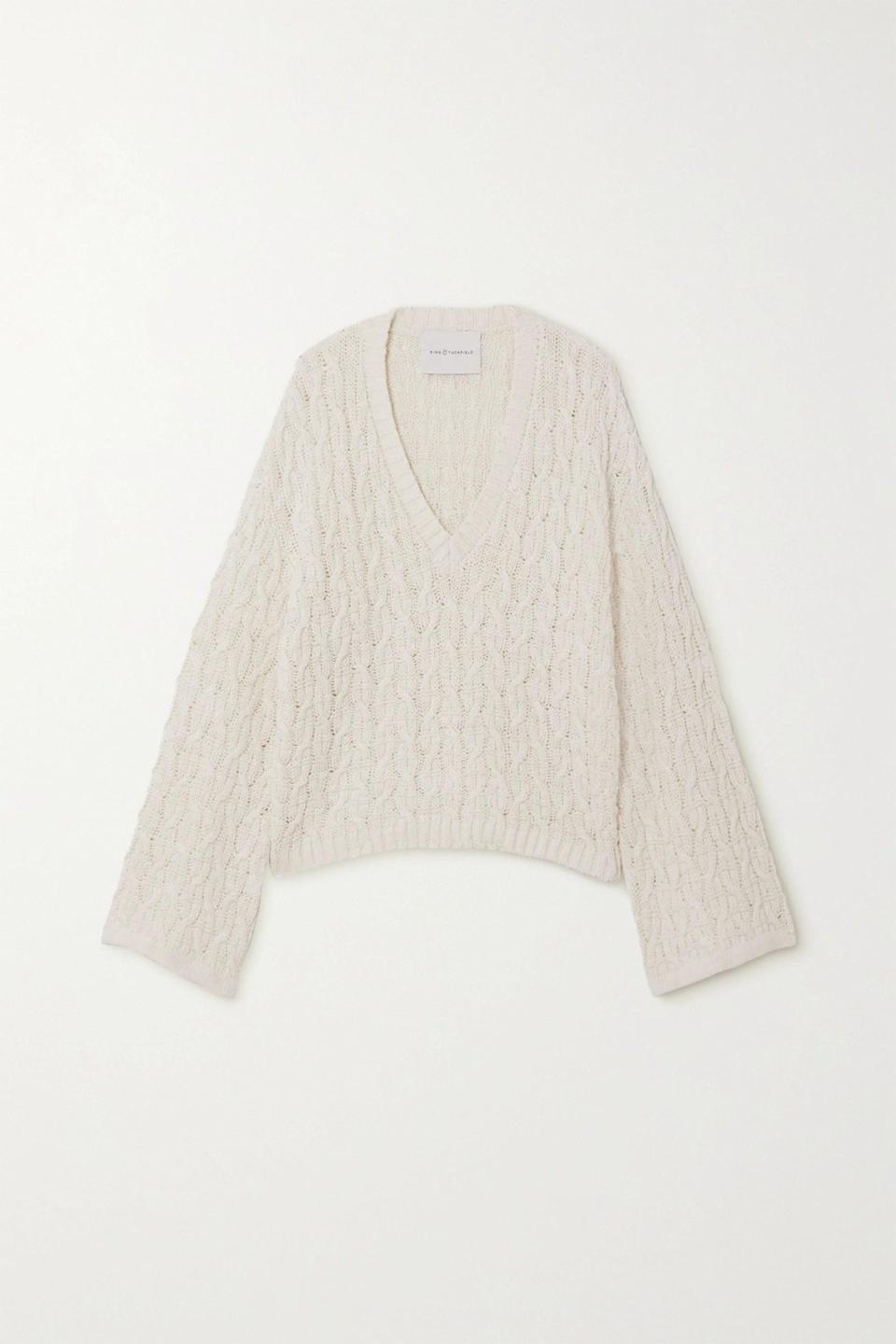 "<br><br><strong>King & Tuckfield</strong> Cable-Knit Linen and Cotton-Blend Sweater, $, available at <a href=""https://www.net-a-porter.com/en-gb/shop/product/king-and-tuckfield/cable-knit-linen-and-cotton-blend-sweater/1214063"" rel=""nofollow noopener"" target=""_blank"" data-ylk=""slk:Net-A-Porter"" class=""link rapid-noclick-resp"">Net-A-Porter</a>"