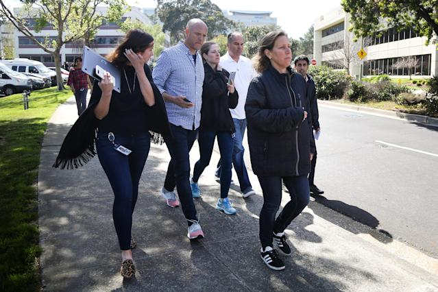 <p>YouTube CEO Susan Wojcicki (R) is seen near Youtube headquarters following an active shooter situation in San Bruno, Calif., April 3, 2018. (Photo: Elijah Nouvelage/Reuters) </p>