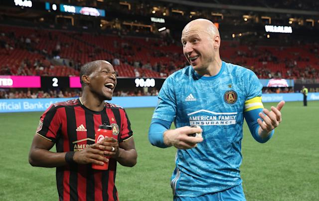 Left off Berhalter's training camp roster, Atlanta United teammates Darlington Nagbe (left) and goalkeeper Brad Guzan won't get to help the U.S. defend the Gold Cup title they won in 2017. (Jason Getz/USA Today)