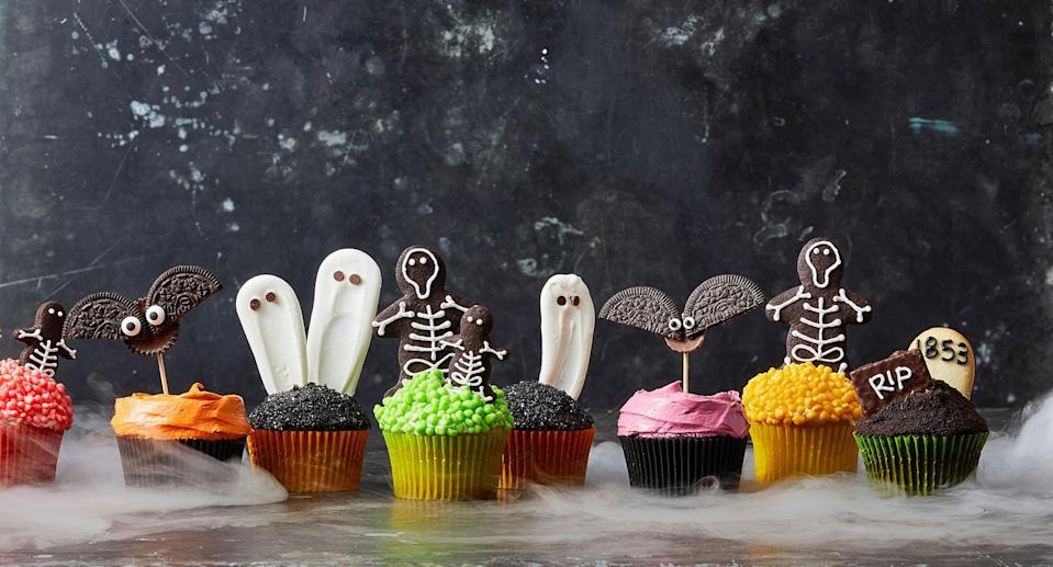"""<p>October 31st is basically an open invitation to eat <a href=""""https://www.goodhousekeeping.com/holidays/halloween-ideas/g244/halloween-desserts/"""" rel=""""nofollow noopener"""" target=""""_blank"""" data-ylk=""""slk:Halloween desserts"""" class=""""link rapid-noclick-resp"""">Halloween desserts</a> and <a href=""""https://www.goodhousekeeping.com/holidays/halloween-ideas/news/a40935/buy-the-cheapest-halloween-candy/"""" rel=""""nofollow noopener"""" target=""""_blank"""" data-ylk=""""slk:Halloween candy"""" class=""""link rapid-noclick-resp"""">Halloween candy</a> all day, right? When it comes time to host a <a href=""""https://www.goodhousekeeping.com/holidays/halloween-ideas/g565/halloween-party-ideas/"""" rel=""""nofollow noopener"""" target=""""_blank"""" data-ylk=""""slk:Halloween party"""" class=""""link rapid-noclick-resp"""">Halloween party</a>, festive and fun Halloween cupcakes should always be on the menu. You're in luck: Any one of these adorable ideas will easily add some fright (and sugar!) to your holiday festivities. </p>"""