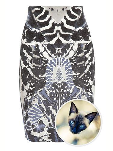 """<div class=""""caption-credit""""> Photo by: net-a-porter</div><b>Siamese Cat</b> <br> Alexander McQueen's distinctive prints have a tendency to be influenced by nature's greatest creatures. In this case, a Siamese cat's electric blue eyes exquisitely match the pop hue in McQ Alexander McQueen's printed stretch-jersey skirt. McQ Alexander McQueen Printed Stretch-Jersey Skirt, $435; <a href=""""http://www.net-a-porter.com/product/364073"""" rel=""""nofollow noopener"""" target=""""_blank"""" data-ylk=""""slk:net-a-porter.com"""" class=""""link rapid-noclick-resp"""">net-a-porter.com</a>"""