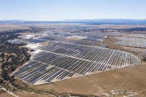 Talayuela solar park in Spain, 300 MWp. A true utility-scale project, covering 820 hectares, built entirely without subsidies.Solarcentury has developed the site, is building it, and will provide O&M and asset management services.