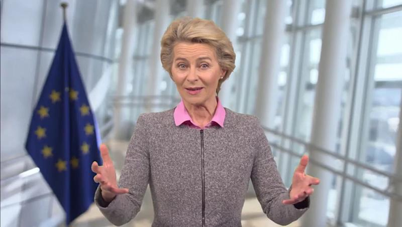 BERLIN, GERMANY - SEPTEMBER 16: In this screengrab, European Commission President Ursula von der Leyen speaks as part of SWITCH GREEN during day 1 of the Greentech Festival at Kraftwerk Mitte aired on September 16, 2020 in Berlin, Germany. The Greentech Festival is the first festival to celebrate green technology and to accelerate the shift to more sustainability. The festival takes place from September 16 to 18. (Photo by Getty Images/Getty Images for Greentech Festival) (Photo: Getty Images via Getty Images)