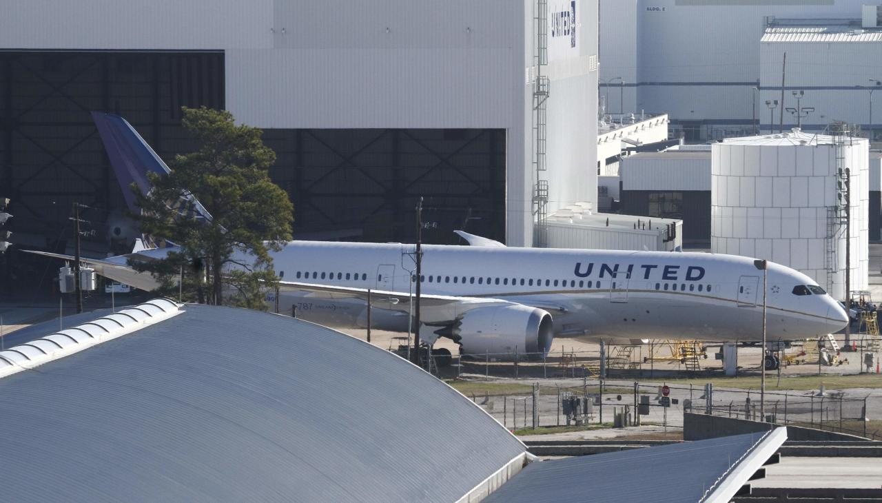 United Airlines 787 Dreamliner jets are seen parked on the tarmac at George Bush Intercontinental Airport in Houston