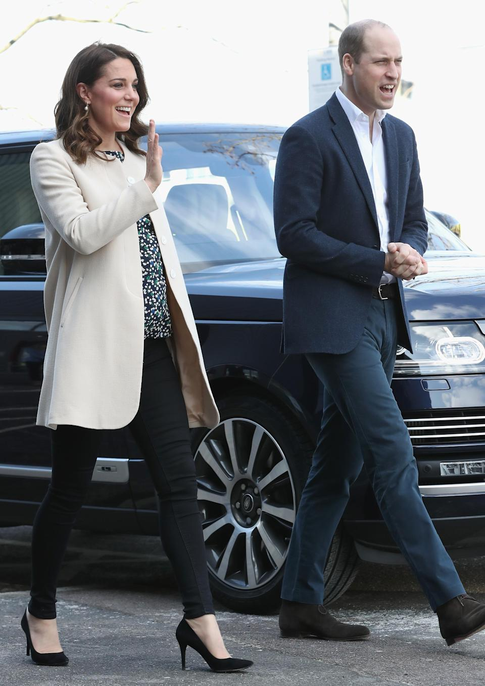 "<p>The Duke and Duchess of Cambridge attended a SportsAid <a rel=""nofollow"" href=""https://uk.style.yahoo.com/duchess-cambridge-goes-casual-final-royal-engagement-140547414.html"" data-ylk=""slk:event;outcm:mb_qualified_link;_E:mb_qualified_link;ct:story;"" class=""link rapid-noclick-resp yahoo-link"">event</a> at Olympic Park in Stratford on 22 March. The event marked the 36-year-old's final engagement before preparing to welcome baby number three. For the occasion, the royal donned skinny jeans and her go-to coat by Goat.<br>Oh, and if you're hoping to get your hands on her <a rel=""nofollow noopener"" href=""https://www.hobbs.co.uk/product/display?productID=0118-6958-9021L00&utm_source=linkshare&utm_medium=affiliate&utm_campaign=8%2Fbtisdd0hQ&utm_content=10&utm_term=UKNetwork&ranMID=38595&ranEAID=8%2Fbtisdd0hQ&ranSiteID=8_btisdd0hQ-8B3hmV740tHDIEd8xHlwIA&siteID=8_btisdd0hQ-8B3hmV740tHDIEd8xHlwIA&SID=3024823&PubName=Mail+Online&EL_COUNTRY=GB&EL_CURR=GBP&EL_LANG=EN"" target=""_blank"" data-ylk=""slk:Hobbs"" class=""link rapid-noclick-resp"">Hobbs</a> blouse, it's just landed in the sale… <em>[Photo: Getty]</em> </p>"