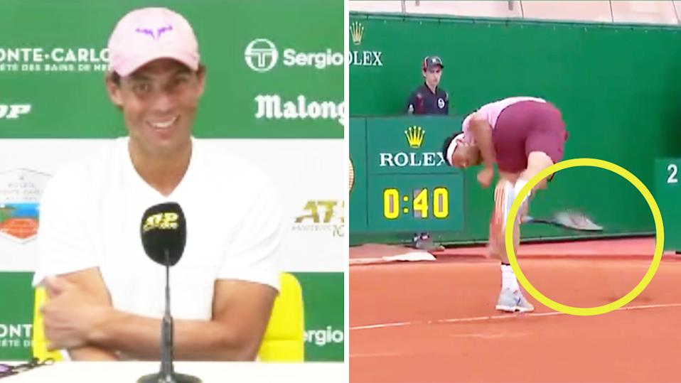 Rafael Nadal (pictured left) laughing during his post-match press conference and Grigor Dimitrov (pictured right) smashing a racquet at Monte Carlo.