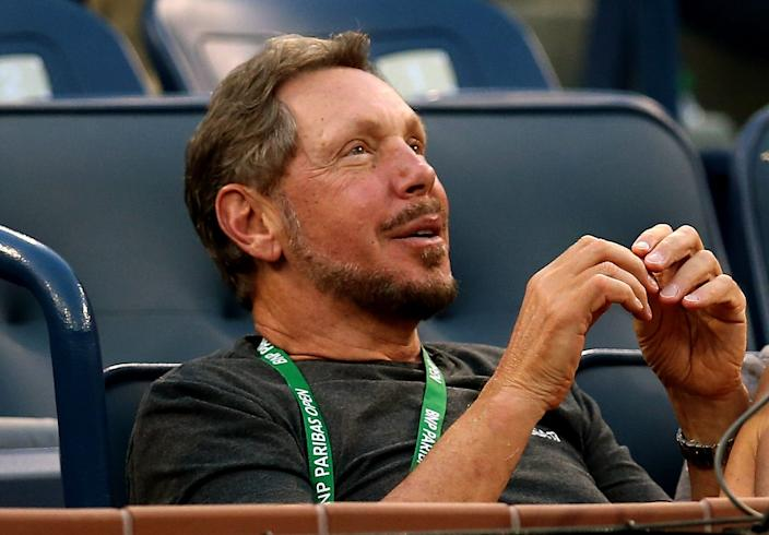 "Larry Ellison watches as Lleyton Hewitt of Australia plays Matthew Ebden of Australia during the BNP Paribas Open at Indian Wells Tennis Garden on March 6, 2014 in Indian Wells, California. <p class=""copyright"">Stephen Dunn/Getty Images</p>"