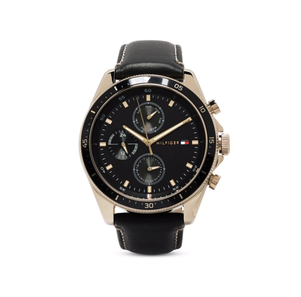 black Tommy Hilfiger Leather Strap Multifunction 44mm Watch with black face and gold details