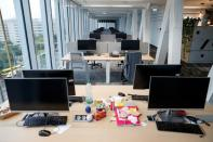An empty office is pictured at the Magyar Telekom HQ during the outbreak of the coronavirus disease (COVID-19), in Budapest
