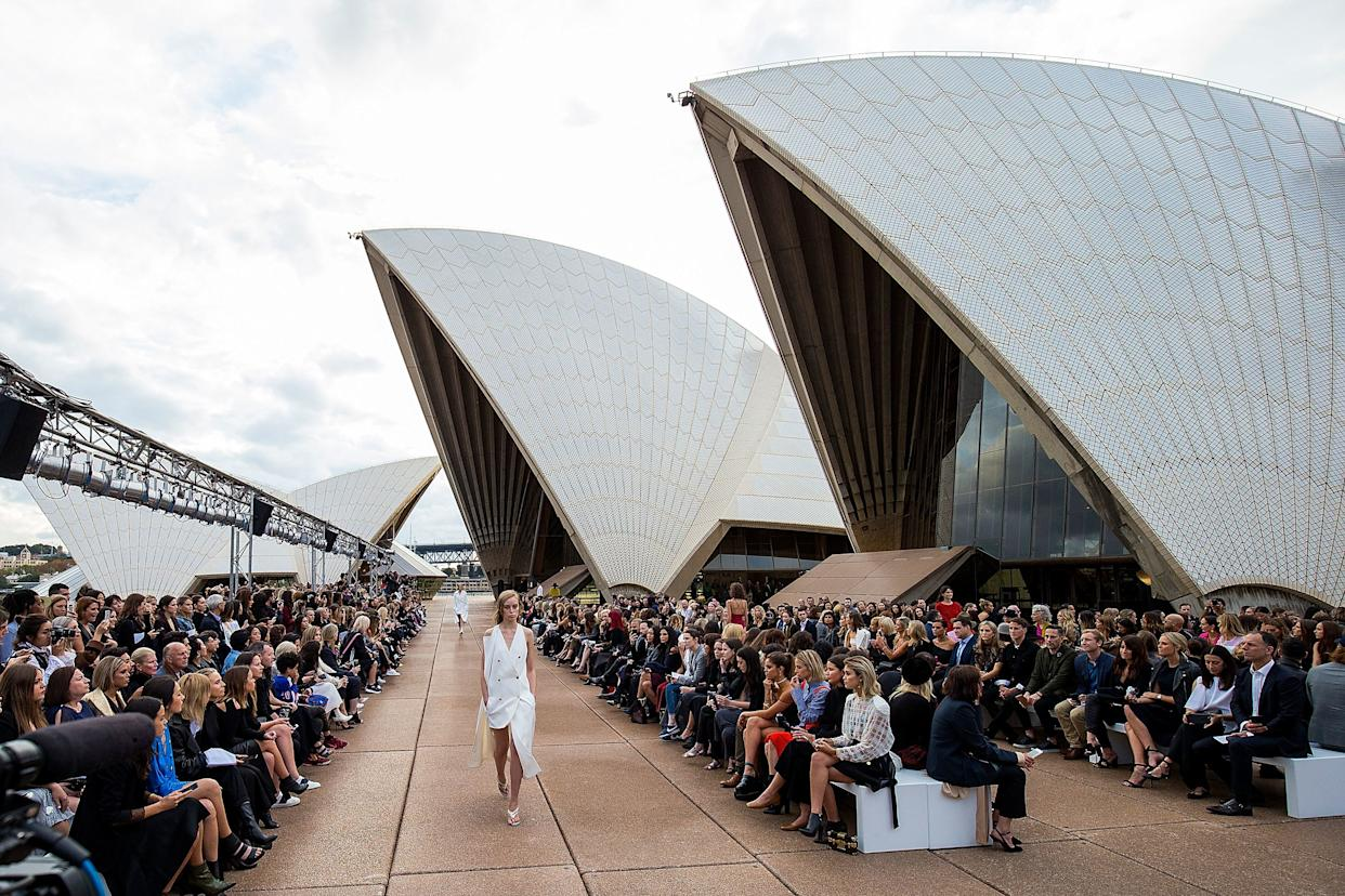 "<h1 class=""title"">Mercedes-Benz Presents Dion Lee - Runway - Mercedes-Benz Fashion Week Australia 2017</h1> <div class=""caption""> Photo by Getty Images. Dion Lee's resort 2018 collection show, on the steps of the Sydney Opera House. </div> <cite class=""credit"">Matt Jelonek</cite>"