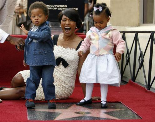 Actress Angela Bassett and her son Slater Josiah and daughter Bronwyn Golden in Hollywood, March 20, 2008.