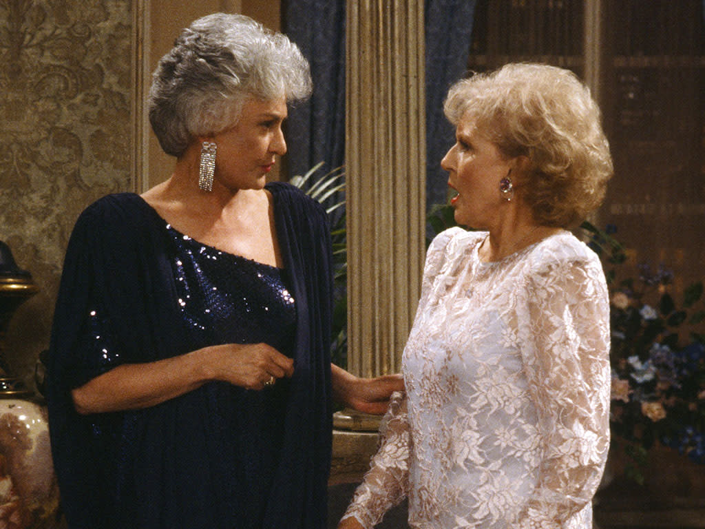 "THE GOLDEN GIRLS -- ""Diamond in the Rough"" Episode 22 -- Pictured: (l-r) Bea Arthur as Dorothy Petrillo Zbornak, Betty White as Rose Nylund  (Photo by Gary Null/NBC/NBCU Photo Bank via Getty Images)"