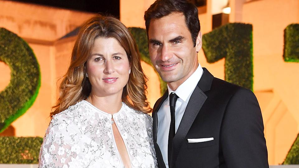 Roger Federer and wife Mirka, pictured here at the Wimbledon winner's dinner in 2017.